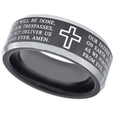 *COI Tungsten Carbide Cross Scripture Beveled Edges Ring-TG3586AA