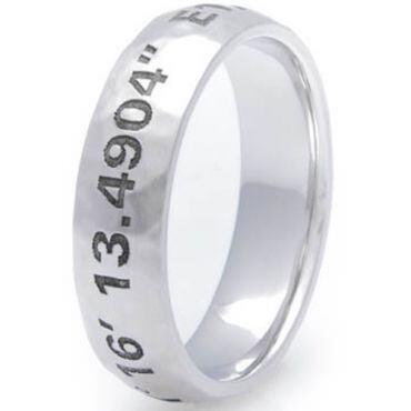 COI Tungsten Carbide Custom Coordinate Dome Court Ring-TG3605CC
