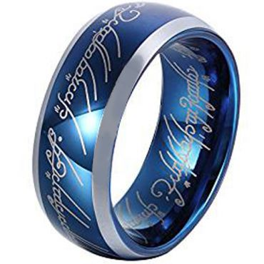 *COI Tungsten Carbide Lord of the Ring Beveled Edges Ring-TG4400