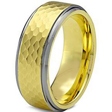 COI Tungsten Carbide Hammered Step Edges Ring-TG1955AA