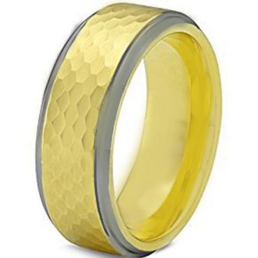 COI Tungsten Carbide Gold Tone Silver Hammered Step Edges Ring-TG1955AA