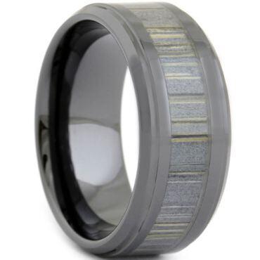 COI Black Tungsten Carbide Wood Step Edges Ring-TG3668
