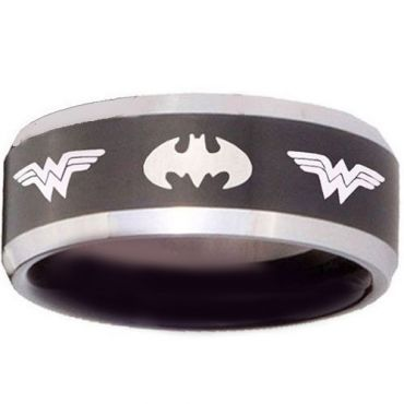 *COI Tungsten Carbide Batman & Wonder Woman Ring-TG3683