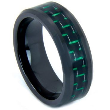 COI Black Tungsten Carbide Ring With Green Carbon Fiber-TG3692