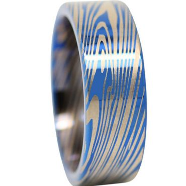 *COI Blue Tungsten Carbide Damascus Pipe Cut Flat Ring-TG4501