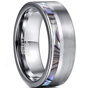 COI Tungsten Carbide Offset Abalone Shell Ring-TG3755