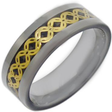 COI Tungsten Carbide Celtic Ring With Black Carbon Fiber-3796