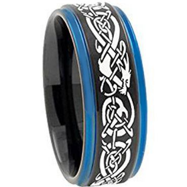 *COI Tungsten Carbide Black Blue Dragon Step Edges Ring-TG3797