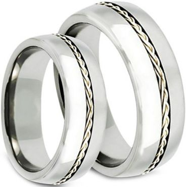 *COI Tungsten Carbide Cable Inlays Dome Court Ring-TG3798