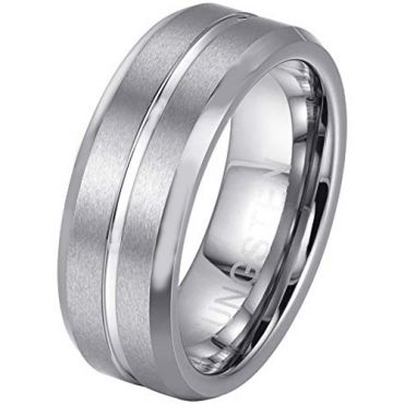 COI Tungsten Carbide Center Groove Beveled Edges Ring - TG379A