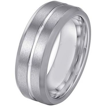 *COI Tungsten Carbide Center Groove Beveled Edges Ring - TG379A