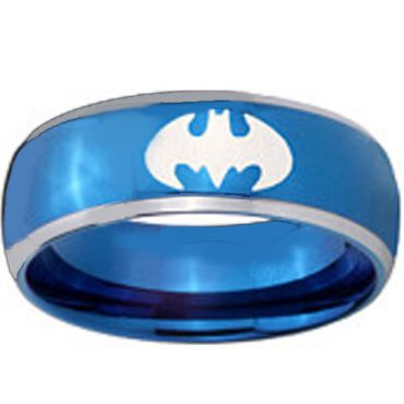 *COI Blue Tungsten Carbide Batman Beveled Edges Ring-TG3812