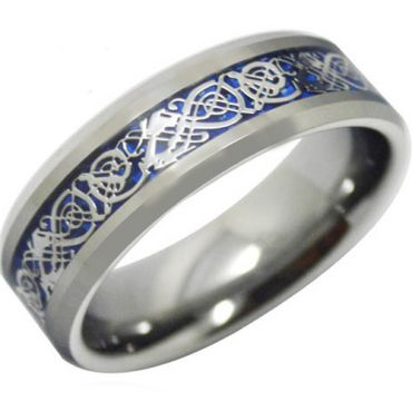 *COI Tungsten Carbide Dragon Beveled Edges Ring-TG3697