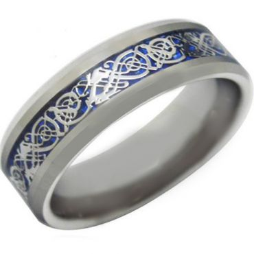 *COI Tungsten Carbide Dragon Beveled Edges Ring-TG3697