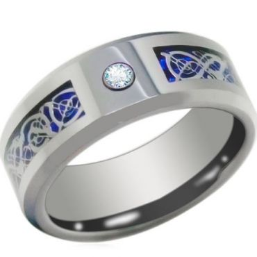 *COI Tungsten Carbide Dragon Ring With Cubic Zirconia-TG3789