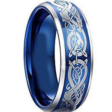 *COI Blue Tungsten Carbide Dragon Beveled Edges Ring-TG4603