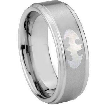 *COI Tungsten Carbide BatMan Step Edges Ring - TG3890AA
