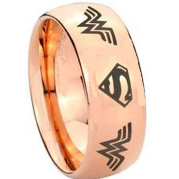 *COI Rose Tungsten Carbide Wonder Woman Superman Ring-TG3893AA