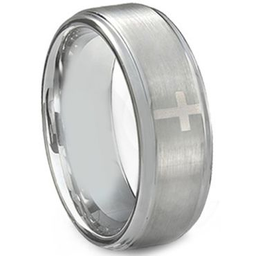 *COI Tungsten Carbide Cross Step Edges Ring - TG3895AA