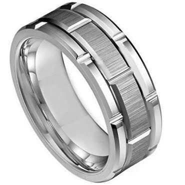 *COI Tungsten Carbide Tire Tread Brick Pattern Ring-TG3935