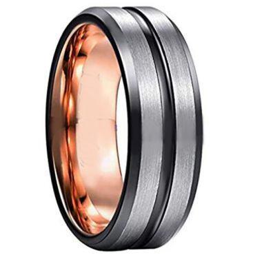COI Tungsten Carbide Black Rose Center Groove Ring - 3940