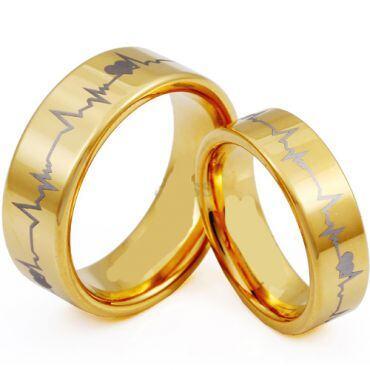 *COI Tungsten Carbide Heartbeat & Heart Pipe Cut Flat Ring-TG3953
