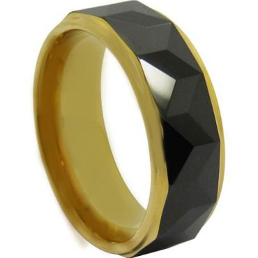 *COI Tungsten Carbide Black Gold Tone Faceted Ring-TG4707