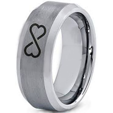 COI T/ungsten Carbide Infinity Heart Beveled Edges Ring-TG4003DD