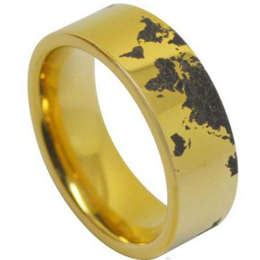 *COI Gold Tone Tungsten Carbide Map Pipe Cut Ring-TG4039AA