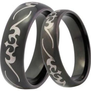 COI Black Tungsten Carbide Celtic Dome Court Ring-TG4041CC