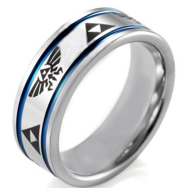*COI Tungsten Carbide Legend of Zelda Double Grooves Ring-TG4043A