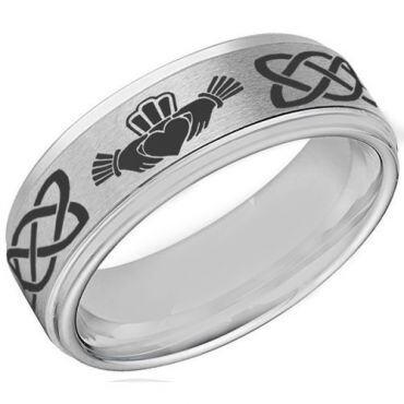 *COI Tungsten Carbide Mo Anam Cara Celtic Ring-4055