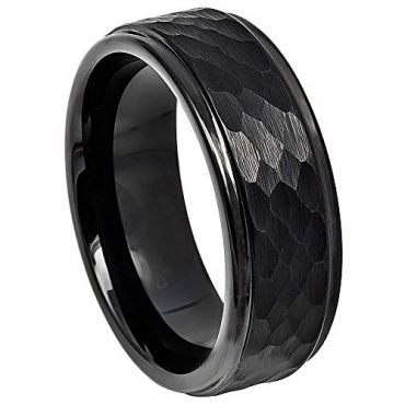COI Black Tungsten Carbide Hammered Step Edges Ring-TG4730