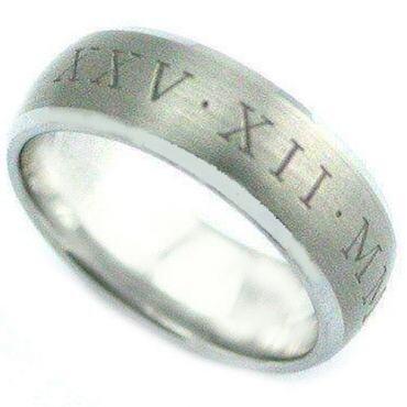 COI Tungsten Carbide Ring With Custom Roman Numerals-TG4076C