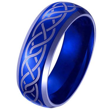 *COI Tungsten Carbide Blue Silver Celtic Beveled Edges Ring-TG4100