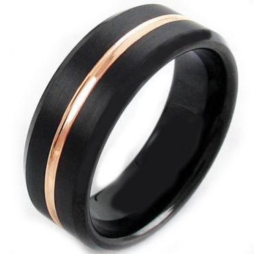 COI Tungsten Carbide Black Gold Tone Center Groove Ring-TG4118AA