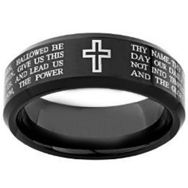 COI Black Tungsten Carbide Cross Scripture Ring-4148