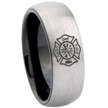 COI Tungsten Carbide Firefighter Dome Court Ring - TG4167