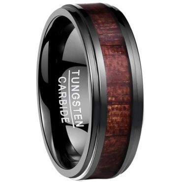 COI Black Tungsten Carbide Wood Step Edges Ring-TG4170B