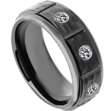 COI Black Tungsten Carbide Hammered Ring With Zirconia-TG4181