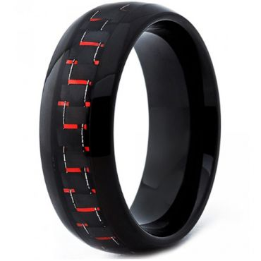 COI Black Tungsten Carbide Ring With Red Carbon Fiber-TG4200