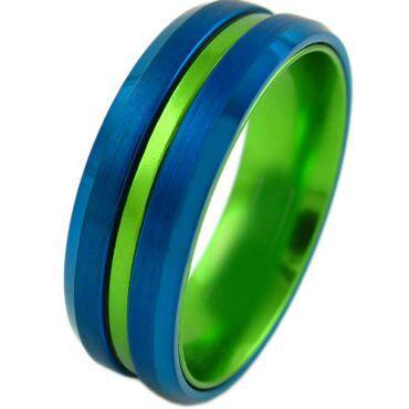 COI Tungsten Carbide Blue Green Center Groove Ring-4210