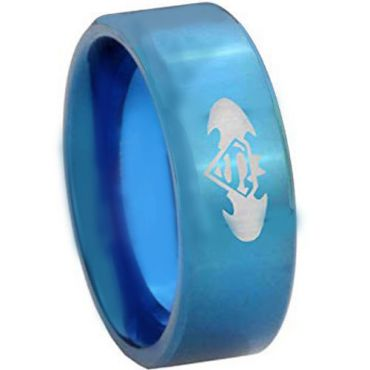 *COI Blue Tungsten Carbide Superman Batman Ring - TG4227CC