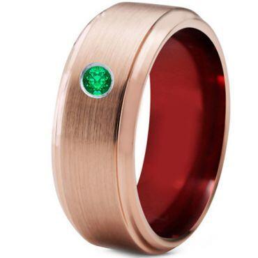 COI Rose Tungsten Carbide Created Emerald Ring-TG4245C