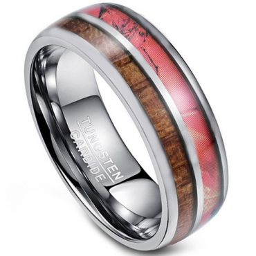 COI Tungsten Carbide Camo & Wood Dome Court Ring-TG4274