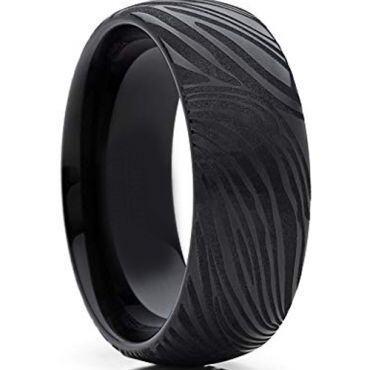 *COI Black Tungsten Carbide Damascus Dome Court Ring-TG4281B