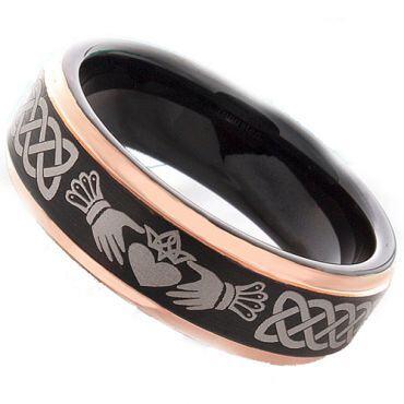*COI Tungsten Carbide Black Rose Mo Anam Cara Celtic Ring-TG4288