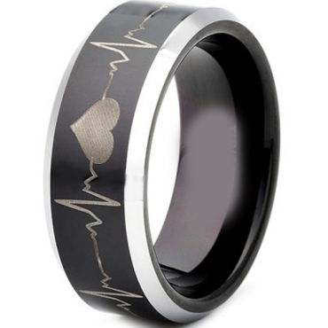 *COI Tungsten Carbide Heartbeat & Heart Beveled Edges Ring-TG4300