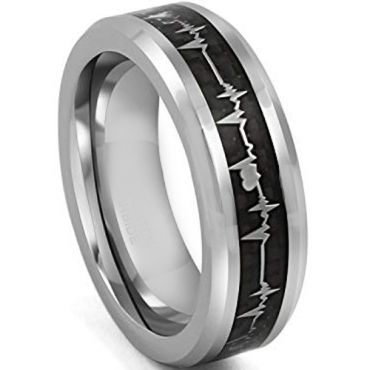 *COI Tungsten Carbide Heartbeat & Heart Ring With Carbon Fiber-4311