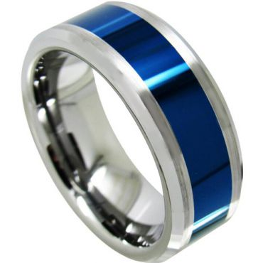 *COI Tungsten Carbide Blue Silver Beveled Edges Ring-TG4321